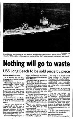 USS Long Beach Newspaper Article
